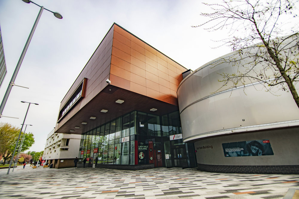 A campus shot of the Lady Hale building