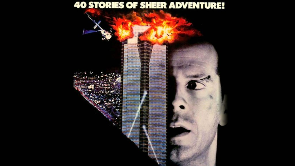 A poster showing a skyscraper with an explosion at the top juxtapositioned against the side of a man's face. He has a scar on his left eyebrow. The poster reads '40 stories of sheer adventure!'
