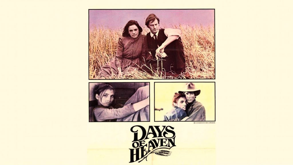 A film poster with a couple sat in a field of grain. The title reads 'Days of Heaven'