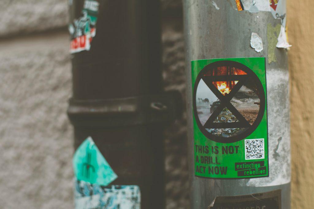 Extinction Rebellion sticker on a lampost