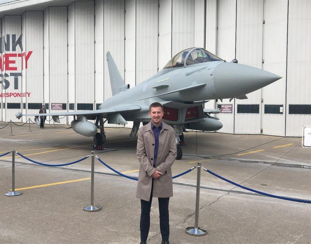 Alex Cook besides Eurofighter