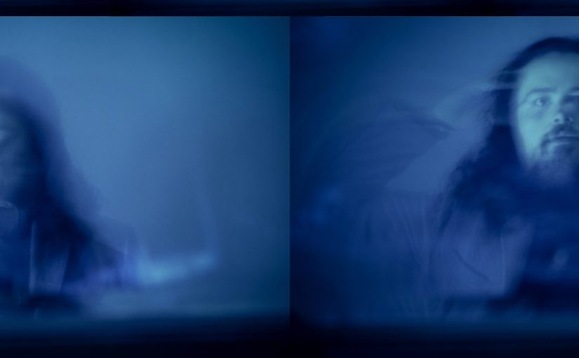 Jack Clarke's photography - on the right is a person screaming, on the left is a person looking - on a blue backdrop