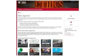 Ethics website front page
