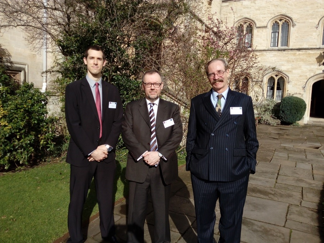 Dr Brian Hall, Prof Alaric Searle and Dr James Corum at Pembroke College
