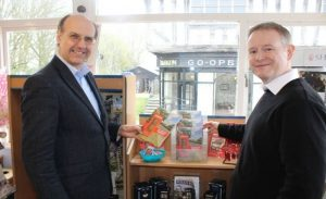 Profs Nigel Linge and Andy Sutton with their publication in gift shop