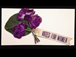 Purple Flowers, with Votes for Women label
