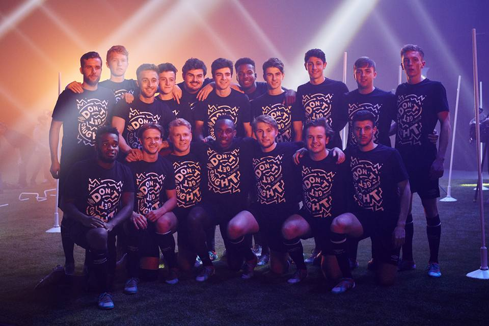 University of Salford football club with West Ham's Michail Antonio (centre front row).