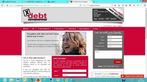 X debt old website screenshot